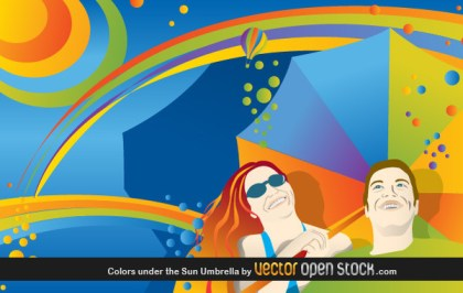 Colors Under The Sun Umbrella Free Vector