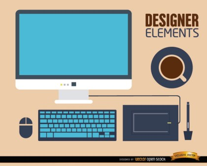 Computer Desk Work Elements Free Vector