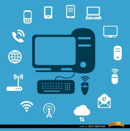 Computer Internet Devices Icons Free Vector
