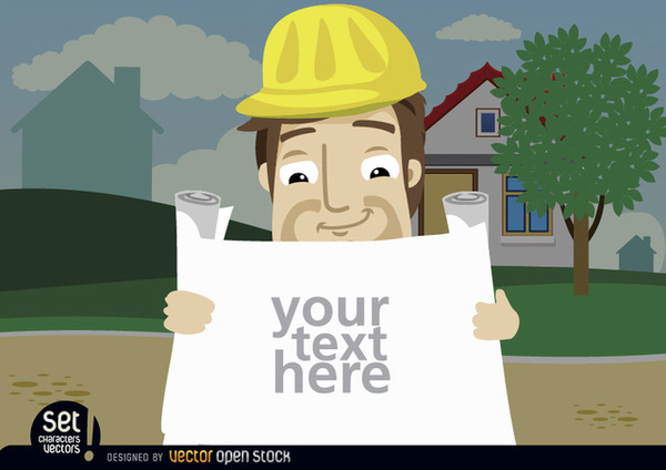 Construction Employee Looking Plans Text Free Vector