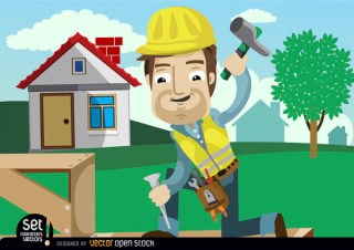 Construction Worker Hammering Chisel Free Vector