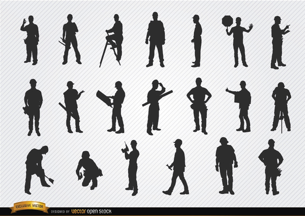 Construction Workers Silhouettes Free Vector