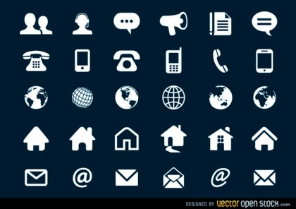 Contact Flat Icons Free Vector