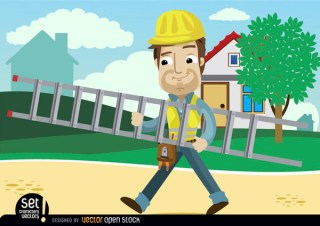 Contruction Worker Cartoon Carrying Ladder Free Vector