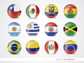 Copa America 2015 Team Flag Balls Free Vector