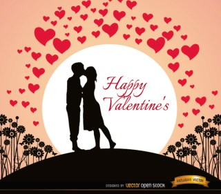 Couple Kissing Valentines Card Free Vector