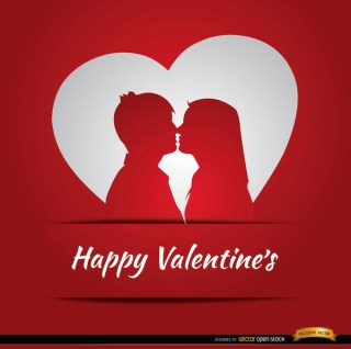 Couple Love Heart Valentines Card Free Vector