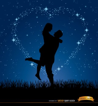 Couple Love Night Stars Background Free Vector