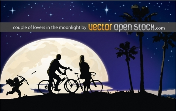 Couple Of Lovers In The Moonlight Free Vector