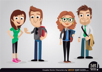Couples Cartoon Characters Free Vector