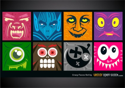 Crazy Faces Set Free Vector