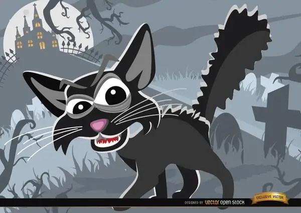 Creepy Cartoon Cat on Graveyard Halloween Background Free Vector