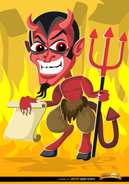 Creepy Halloween Evil Cartoon Holding Paper Message Free Vector