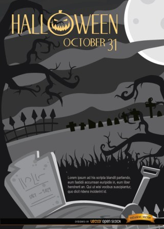 Creepy Halloween Night Graveyard & Crooked Trees Background Free Vector