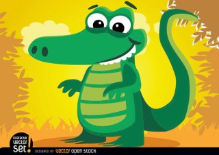 Crocodile Animal In Jungle Free Vector
