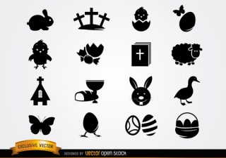 Cute Easter Icon Pack Silhouette Free Vector