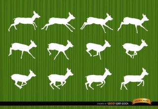 Deer Running Motion Frames Silhouettes Free Vector