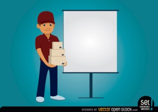Delivery Character with Presentation Screen Free Vector