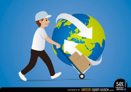 Delivery Man Cart Arrows Around Planet Free Vector