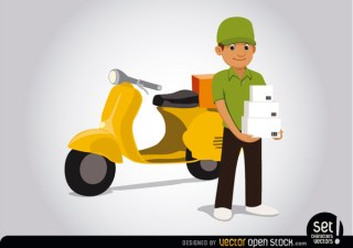 Delivery Man with Motorcycle Free Vector