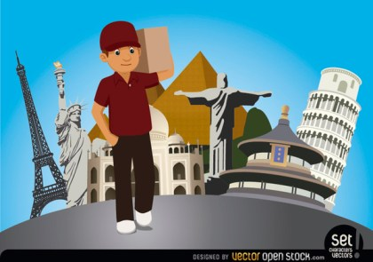 Delivery Man with World Monuments Free Vector