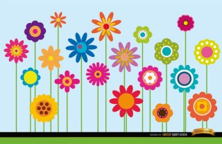 Different Flowers Stems Background Free Vector