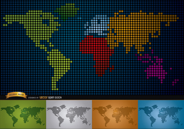 Digital Map Of World with Continents Free Vector