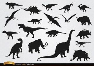 Dinosaur Prehistoric Animal Silhouettes Free Vector