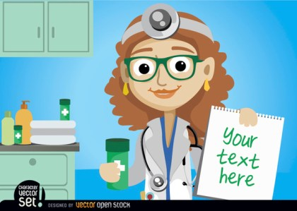 Doctor Woman with Medicine and Prescription Free Vector