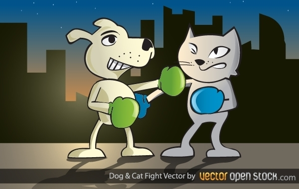 Dog and Cat Fight Free Vector