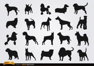 Dog Breeds Silhouettes Free Vector