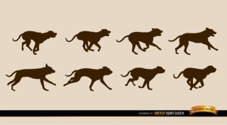 Dog Motion Sequence Silhouettes Free Vector