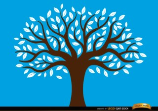 Drawn Tree with White Leaves Free Vector