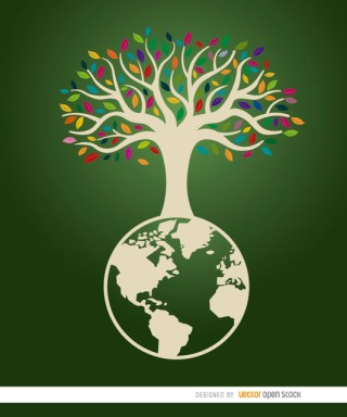 Earth Tree Ecologic Poster Free Vector