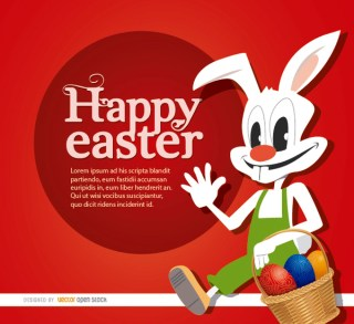 Easter Cartoon Rabbit Eggs Basket Free Vector