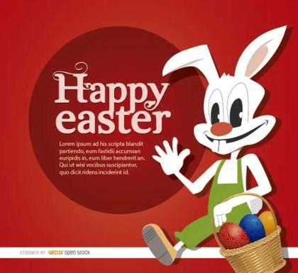 Easter Cartoon Rabbit Eggs Basket Free Vector