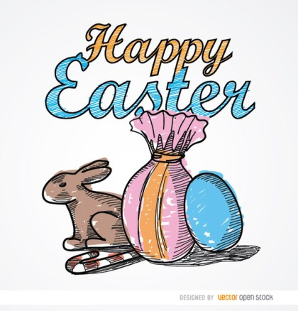 Easter Drawing Rabbit Sweets Eggs Free Vector