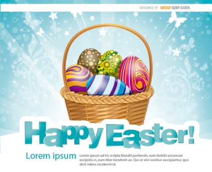 Easter Eggs Basket Background Free Vector