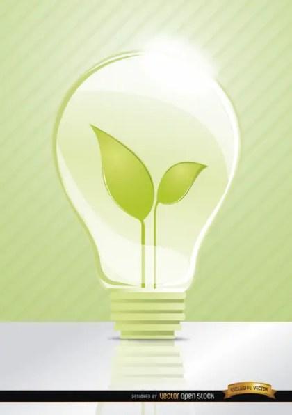 Ecologic Idea Light Bulb Leaves Free Vector
