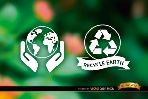 Ecologic Labels Nature Blurred Background Free Vector