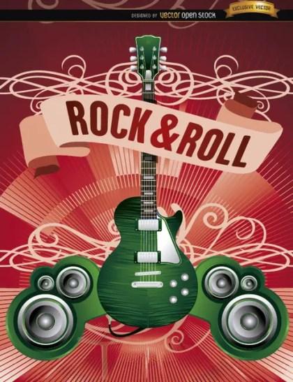Electric Guitar Rock Poster Free Vector