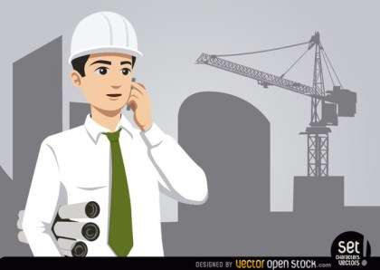 Engineer with Construction and Crane Free Vector