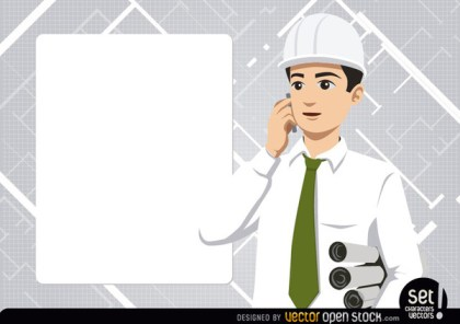 Engineer with Message Board and Phone Free Vector