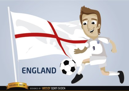 England Football Player with Flag Free Vector