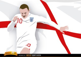 England Footballer Wayne Rooney with Flag Free Vector