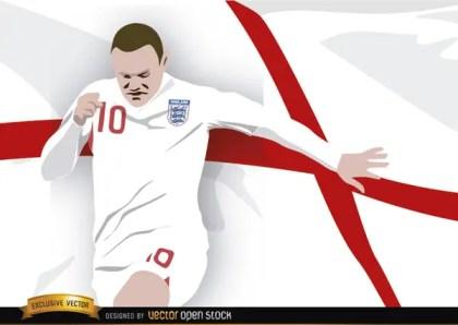 England Footballer Wayne Rooney with Flag Free Vector