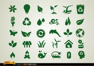 Environmental Awareness Icons Set Free Vector