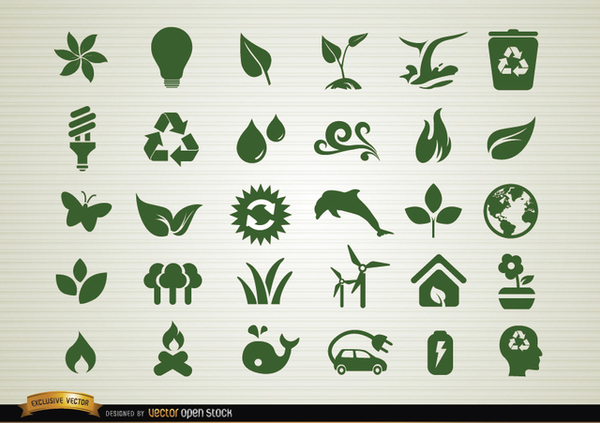 Environmental Awareness Icons Set Free Vector