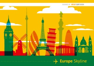 Europe Monuments Skyline Background Free Vector