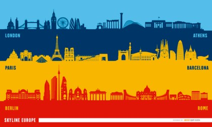 European Landmarks Skyline Background Free Vector